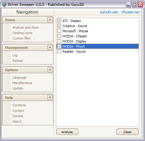 Driver Sweeper 2.0.5 screenshot