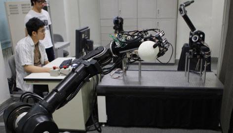 Honkbal spelende robots