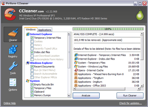 CCleaner 2.22.968 screenshot (481 pix)