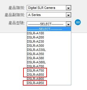 Sony Alpha A750 A850 A950