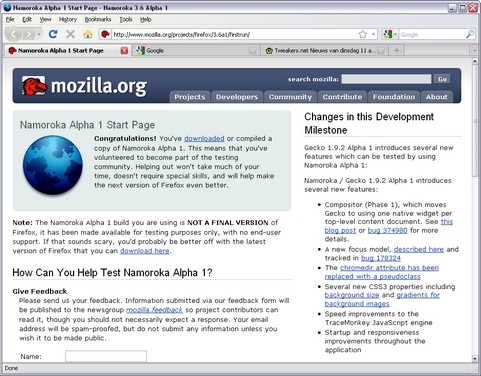 Mozilla Firefox 3.6 alpha 1 screenshot (481 pix)