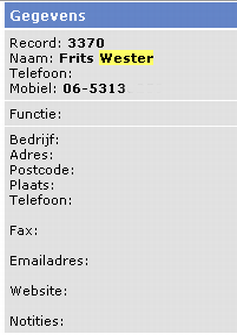 Database GPD: entry Frits Wester