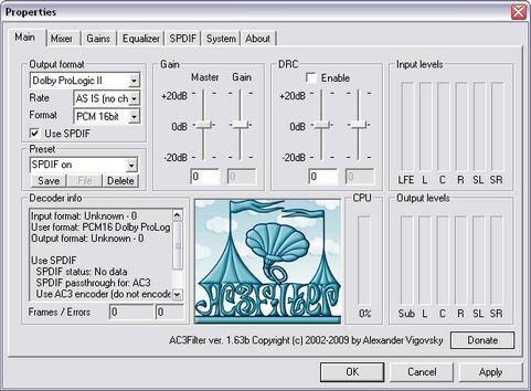 AC3Filter 1.63b screenshot (481 pix)
