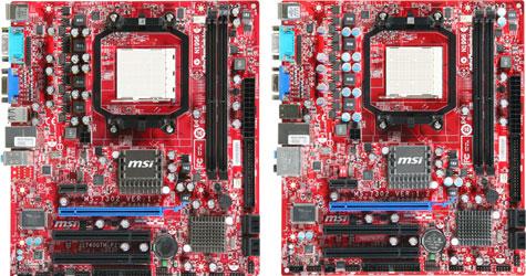 MSI 740GTM-P21 (links) en 740GTM-P25 (rechts)