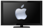 Mockup: een tv met Apple-logo