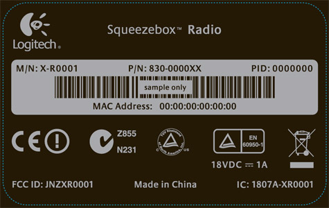 Logitech Sqeezebox Radio label