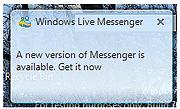 Windows Live Messenger popup