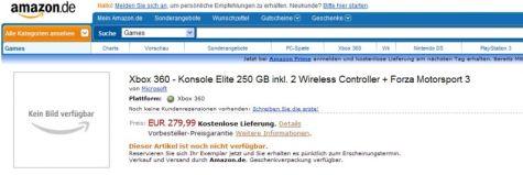Amazon Xbox 360 Elite 250gb printscreen
