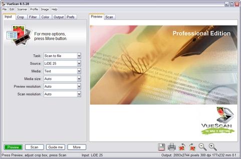 VueScan 8.5.28 screenshot (481 pix)