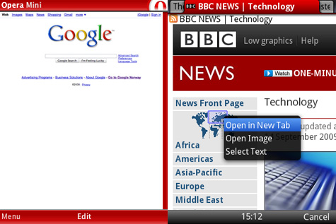 Links Opera Mini 4.2, rechts de bèta