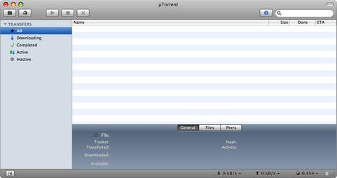 µTorrent Mac screenshot (481 pix)