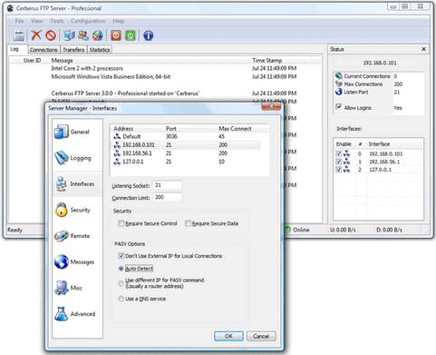 Cerberus FTP Server 3.0 screenshot (481 pix)