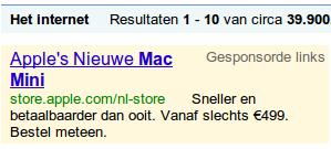 Adsense-advertentie met verwijzing naar nieuwe Mac Mini