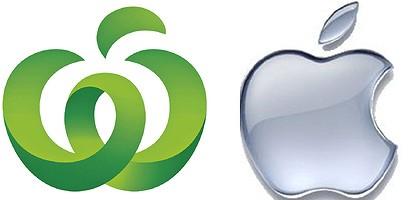 Logo's van Woolworths en Apple