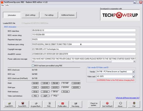 TechPowerUp Radeon Bios Editor 1.22 screenshot (481 pix)