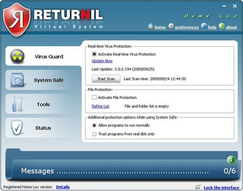 Returnil Virtual System screenshot (481 pix)