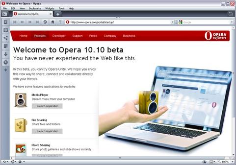 Opera 10.10 bèta screenshot (481 pix)