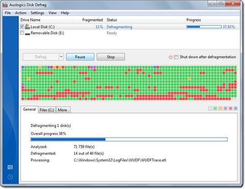 Auslogics Disk Defrag screenshot (481 pix)
