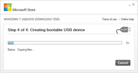 Windows 7 USB/DVD Download Tool screenshot (481 pix)