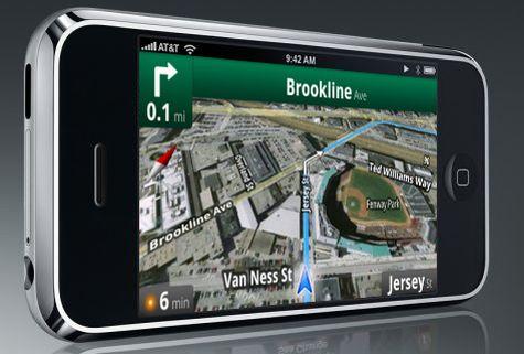 Mockup: Apple iPhone met Google Maps-navigatie