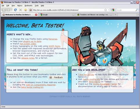 Mozilla Firefox 3.6 bèta 1 screenshot (481 pix)