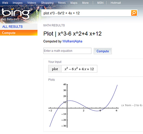 Bing met Wolfram Alpha-data
