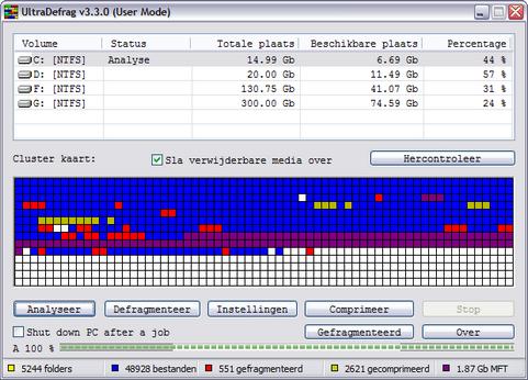 UltraDefrag 3.3.0 screenshot (481 pix)