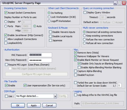 UltraVNC 1.0.8.2 screenshot (481 pix)