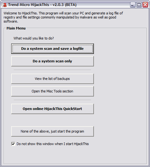 HijackThis 2.0.3 bèta screenshot (481 pix)