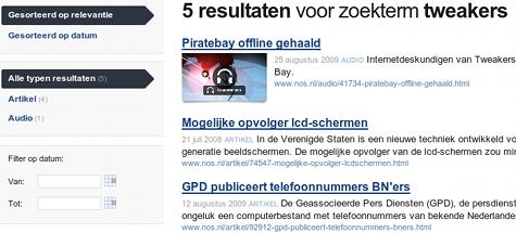 Nieuwe zoekmachine op NOS.nl