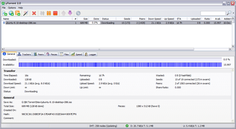 µTorrent 2.0 screenshot (481 pix)