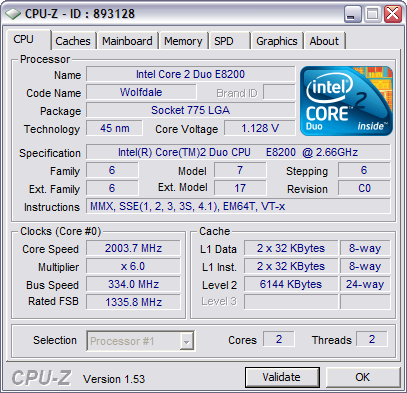 CPU-Z 1.53 screenshot (481 pix)