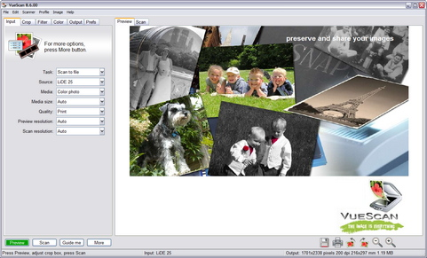 VueScan 8.6.00 screenshot (481 pix)