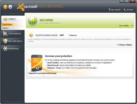 Avast! Free Antivirus 5.0 screenshot