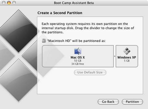Apple Boot Camp screenshot (481 pix)
