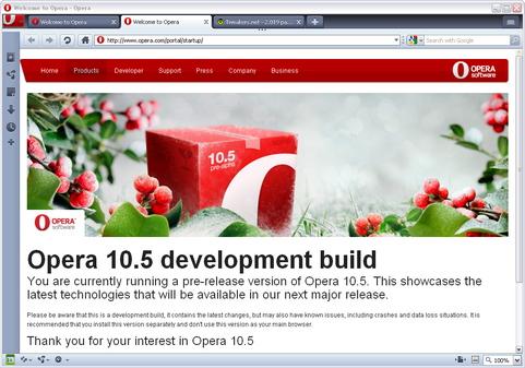 Opera 10.50 alpha screenshot (481 pix)