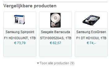 Vergelijkbare producten  bij de Samsung Spinpoint F3 1TB