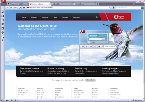 Opera 10.50 screenshot (481 pix)