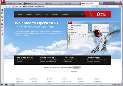 Opera 10.51 screenshot (481 pix)