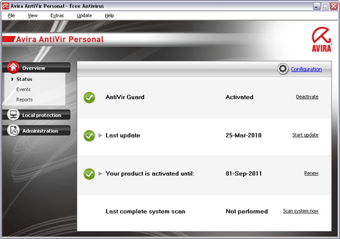 Avira Antivir Personal 10 screenshot (481 pix)