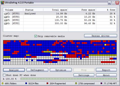 UltraDefrag 4.2.0 screenshot (481 pix)