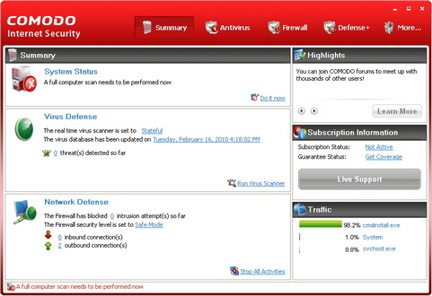 Comodo Internet Security 4.0 screenshot