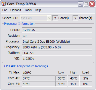 CoreTemp 0.99.6 screenshot