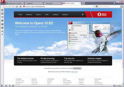Opera 10.52 screenshot (481 pix)