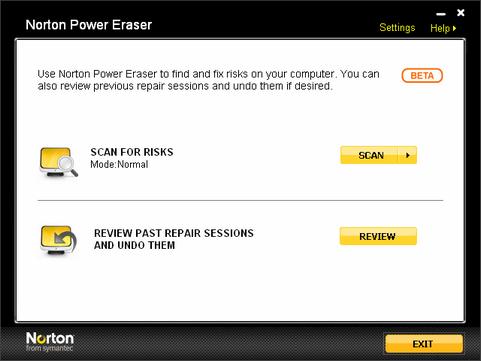 Norton Power Eraser screenshot (481 pix)