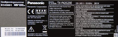 Panasonic TX-P42G20E label