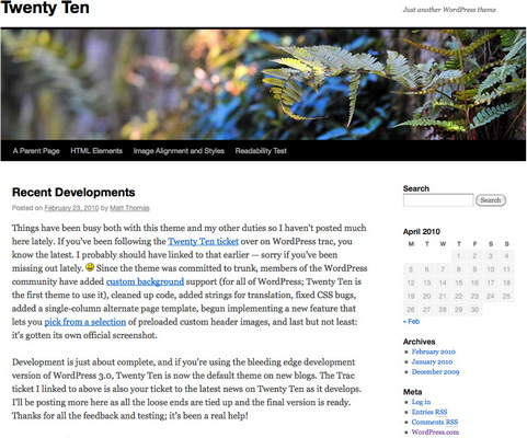 WordPress 3.0 screenshot