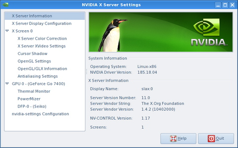 Nvidia Linux Display Driver screenshot (481 pix)