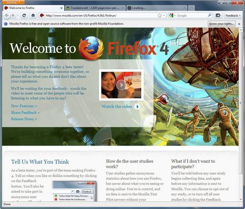 Mozilla Firefox 4.0 bèta screenshot