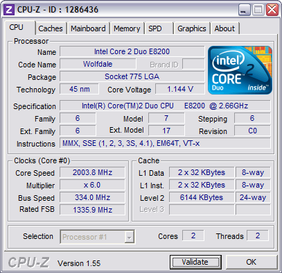CPU-Z 1.55 screenshot